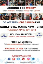 SAULT STE. MARIE JOB FAIR – APRIL 30TH,  2019
